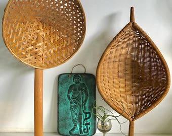 Vintage Rice Sieve, Wicker Basket Spoon with Handle, Ladle