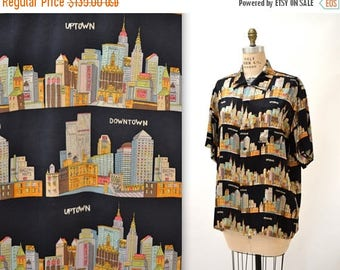SALE 90s Vintage Nicole Miller Silk Shirt NYC New York City Architecture Print Small Large// Vintage NYC Street Scene Shirt