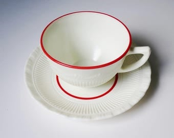 Vintage Tea Cup and Saucer, Milk Glass Teacup Set, Vintage Macbeth Evans, Corning Pyrex Tea Cup Set Cup Set w Red Trim