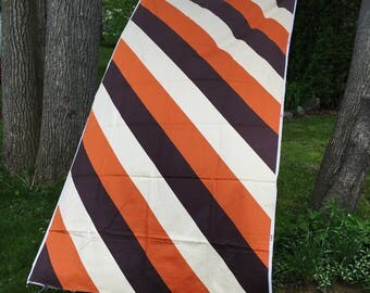 Super large scale striped vintage cotton sateen upholstery rusty orange brown and cream