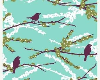 SALE 10% Off - Joel Dewberry - AVIARY 2 - Sparrows in Plum JD41 - Free Spirit Fabric - By the Yard