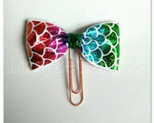 Planner clip, bookmark, planner bow clip, bow bookmark, mermaid scale bow, foil print bow, mermaid bow, rose gold clip