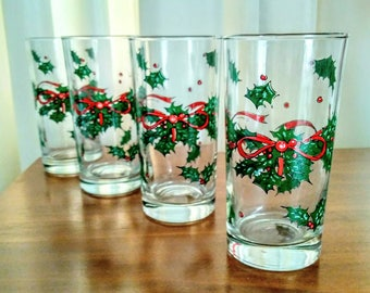Christmas Glasses, Set of 4 Christmas Holly Tumblers, Vintage Holiday Clear Drinking Glass, Holly and Bow Glasses, 8 Green and Red Glasses