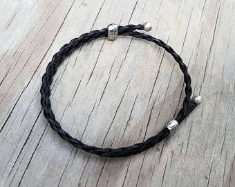 Adjustable Horse Hair Bracelet with Silver Plated Beads - Braided Horsehair - Cowboy Bohemian Inspired Boho Chic