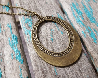 """Antique Gold Open Oval Necklace on a 24"""" Chain by Jenn's Handmade Jewelry"""