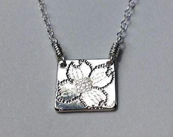 SALE Tiny Dogwood Sterling Silver Necklace