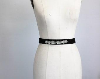 Vintage 1940s 1950s Black Belt With Rhinestones / Snap Closure Dressy Belt Rhinestone Studded Cocktail Evening Wear