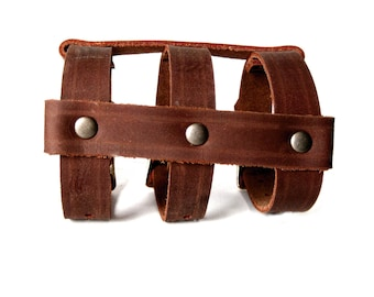 Summer Sale! 15% off - CAGE CUFF Leather Bracelet in Rust and Antique Brass
