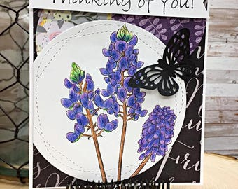 Blue bonnets with 1 sentiment digital stamp by Tierra Jackson
