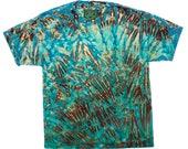 XL Shibori Men's T Shirt Tie Dye with Black Greens Hand Dyed