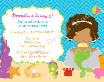 Mermaid birthday party invitation invite under the sea mermaid party invitation mermaid invite CHOOSE YOUR GIRL, Print your own