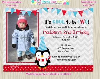 Winter Onederland birthday invitation invite 1st birthday penguin birthday party printable DIY photo picture