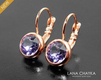 Tanzanite Rose Gold Earrings Swarovski Tanzanite Rhinestone Leverback Earrings Purple Crystal Earrings Bridal Jewelry Bridesmaids Earrings