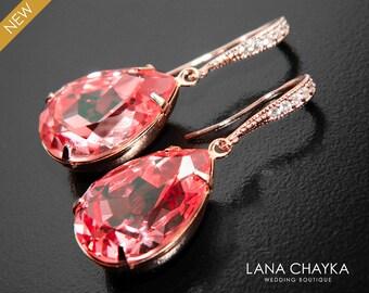 Rose Peach Coral Crystal Earrings Swarovski Rhinestone Teardrop Rose Gold Earrings Mother of The Bride Wedding Jewelry Pink Gold Earrings