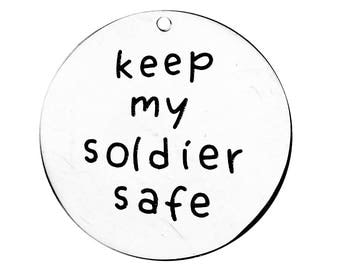 Quote Charm Silver Word Charm Hero Charm Word Pendant Soldier Charm Military Charm Silver Quote Charm Keep My Soldier Safe Charm Steel