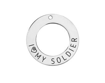 Quote Charm Silver Word Charm Hero Charm Word Pendant Soldier Charm Military Charm Silver Quote Charm I Love My Soldier Stainless Steel