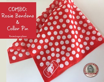 """BIG SALE! Rosie the Riveter Combo for Adult or Child (A) Rosie the Riveter """"We Can Do It"""" Bandana and (B) Employment Collar Pin. RtR-6."""