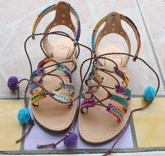 SALE!size 38-US 7-7.5 Pompom Sandals womens sandals flatform sandals boho sandals sandales femme compensees