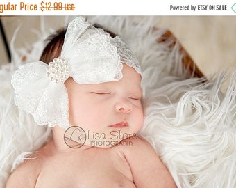 10% SALE Baptism headband, Baby headband, newborn headband, adult headband,  and photography prop The single sprinkled- ALL LACE bowheadband