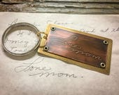 Your own handwriting or logo etched copper and brass keychain, kids handwriting, gift for mom, gift for dad, memorial gift