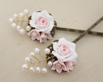 Blush rose bobby pins, bridal hair pins, floral bobby pins, floral hair pins, blush roses, Sample sale