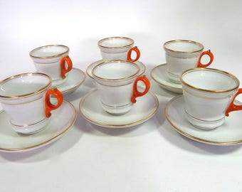 6 Antique French Bistro Cups  Authentic and Elegant Cups with Saucers Brulot