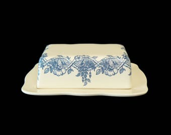 Niderviller French Faince Porcelain Ceramic European Butter Dish Made in France Floral Garland