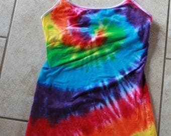 Tie Dye Ladies Tank Top Upcycled Size Small