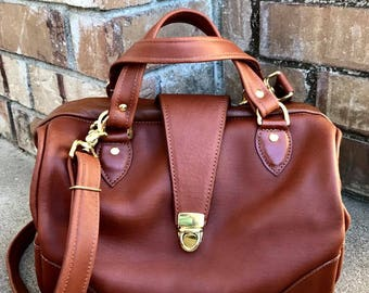 Leather Doctor Bag, Doctor Bag, Canvas Doctor bag,  in YOUR CHOICE of leathers or Canvas Satchel Handbag Framed Bag - Laurel Dasso