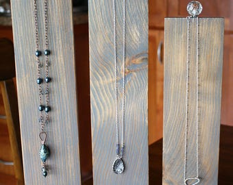 Set of 3 Wood Necklace/Jewelry Displays with glass accent & FREE Custom 100 small price Tags