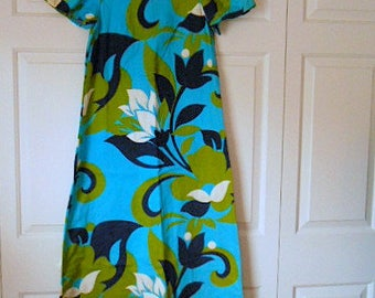Vintage 70's bark cloth Hawaiian maxi Dress
