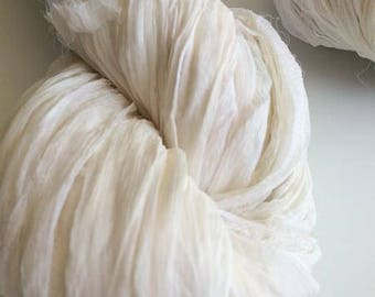 Silk chiffon ribbon, 10m, white, knitting yarn, crochet yarn, ribbon yarn. Craft ribbon, knitting ribbon.