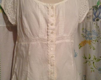 SMALL,  Top Bohemian Hippie Flowerchild Lightweight Cotton Cream Colored Top