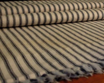 Vintage / Antique Ticking Fabric/ Primitive Ticking Pillow Fabric / Blue White Stripe / X Long Country Farmhouse Ticking / Machine Washable