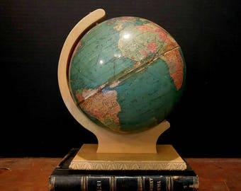 """World Classic 8"""" Replogle Globe / Vintage Replogle Standard Globe on Wood Stand / Replogle 1930's"""