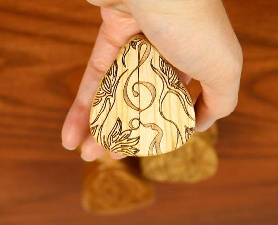 "Treble Guitar Pick Box, 2-1/4"" x 2"" x 1 D"", Pattern G34 Deep, Solid Cherrywood, Laser Engraved, Paul Szewc"