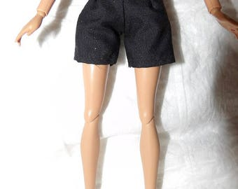 Fashion doll Coordinates - Solid black shorts - es445