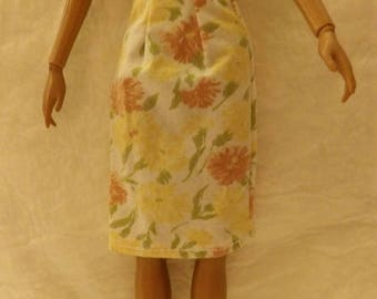 Fashion Doll Coordinates - Orange floral skirt - es433