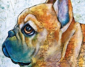 French Bulldog mixed media Print 11x14
