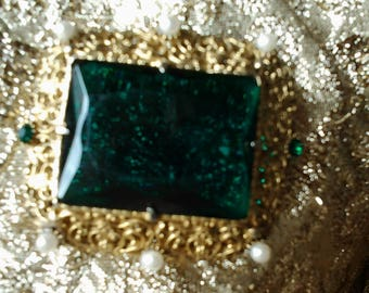 Large vintage brooch - 50s -  Gripoix - Goossens - emerald - strass and perles - Christmas gift - birthday gift -