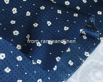 """silk fabric, white flowers on brocade navy blue silk cotton blend fabric,Japanese icons,  half yard by 56"""" wide"""