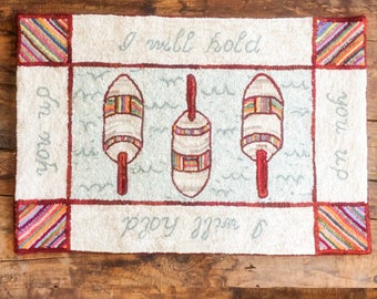 I Will Hold You Up, Buoy Hand Hooked Seaside Rug