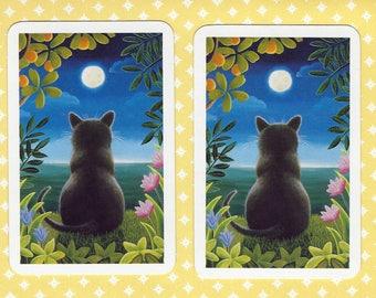FULL MOON KITTY (2) Single Swap Playing Cards Paper Ephemera Scrapbook