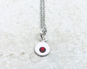 Mini Birthstone Necklace, Sterling Silver, Swarovski Crystal, January Birthstone, All Colors Available, Red Crystal Necklace, Garnet