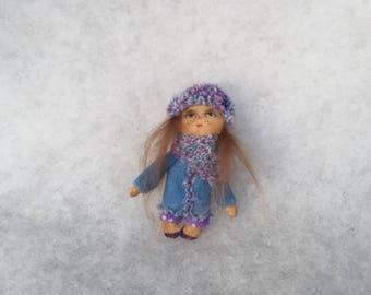 Primitive doll brooch,textile doll brooch,cloth doll brooch,miniature doll brooch,primitive doll
