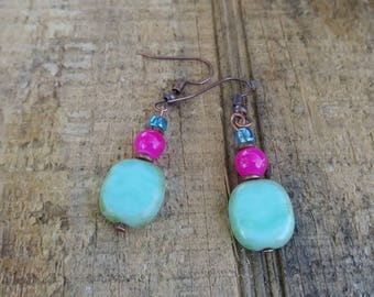 Hot pink, seafoam green and blue earrings with copper plated hooks