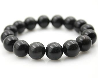 12mm Obsidian Gem Tibet Buddhist Prayer Beads Mala Bracelet S033