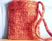 Hand Knitted Bag Shoulder Bag Pink and Red Handbag OOAK