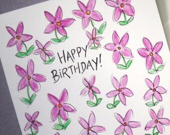 Hand Drawn Birthday Card, Greetings Card,  Pink Flowers Birthday Cards