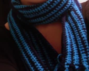 Crochet Scarf, Long Blue Scarf